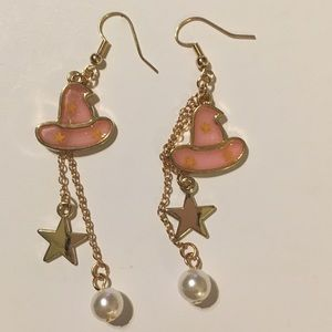 Witch's Hat Earrings, Pearl & Star Dangles Gold